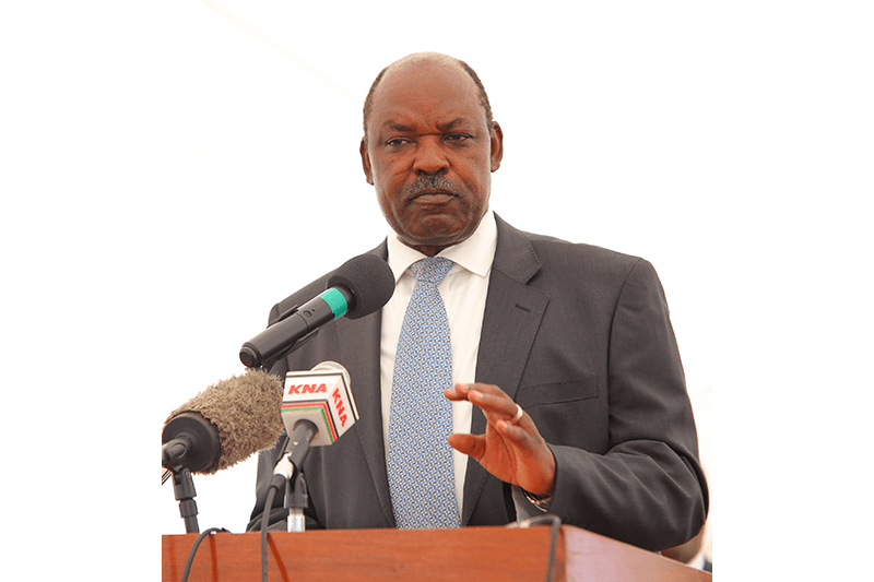 His Excellency the Governor of Kisumu, Hon Jack Raguma delivers his speech during the official opening of the Crown Paints factory in Kisumu.