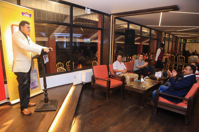 Crown Paints CEO Rakesh Rao addresses golfers at Sigona Golf club during the Crown Piants Golf Day at the club.