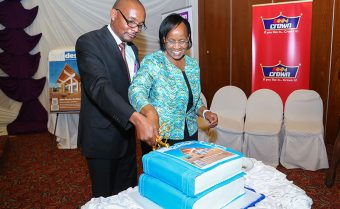 Buildesign Publisher, Martin Tairo and Principal Secretary for the State Department for Housing, Ministry of Transport and Infrastructure Aidah Munano cut the cake to celebrate and mark the launch of the 20th Edition of the Buildesign Magazine at the Laico Regency Hotel.